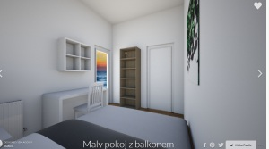 maly pokoj z balkonem