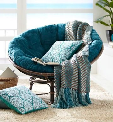 CHENILLE CHEVRON THROW PAPASAN CUSHION PLUSH TEAL PAPASAN CHAIR BOWL PAPASAN GHAIR BASE PILLOW MAUI CALLIOPE PILLOW EMBELLISHED GEOMETRIC